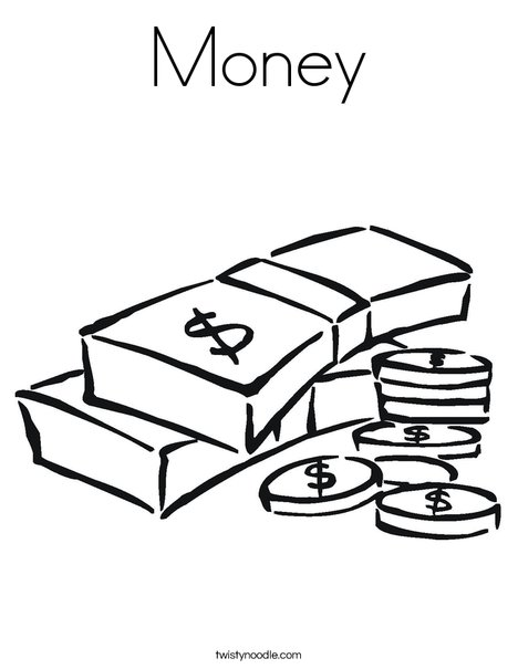 Money Coloring Worksheets : Money coloring page twisty noodle