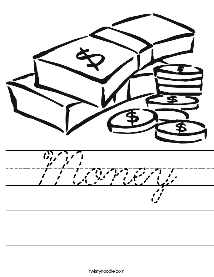 Money Worksheet Cursive Twisty Noodle