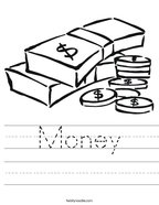 Money Handwriting Sheet