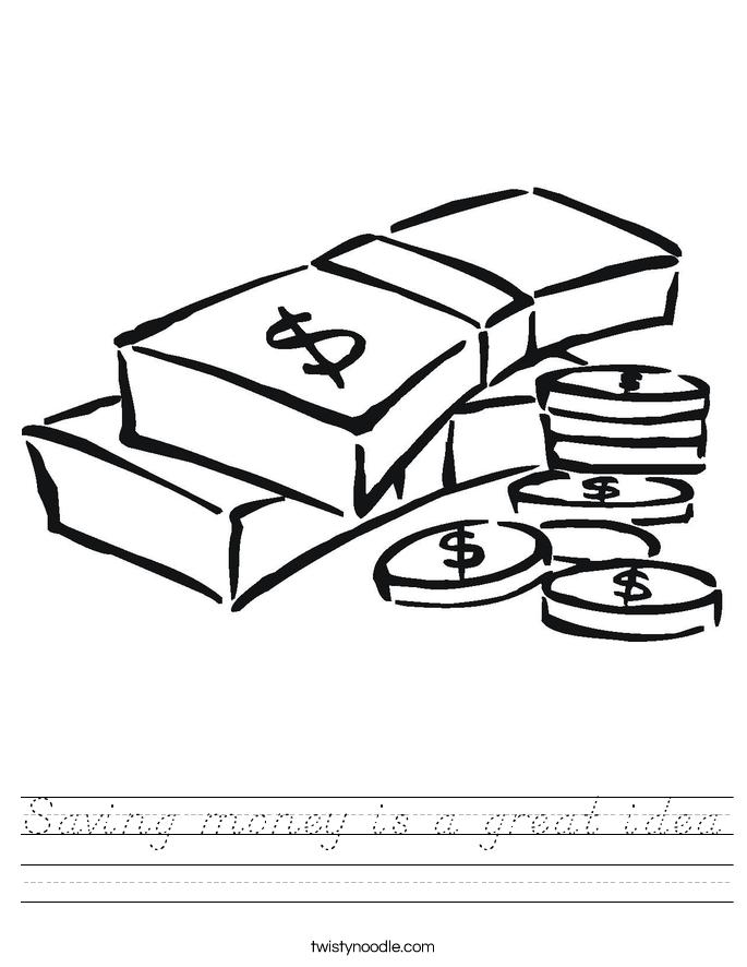 Saving money is a great idea Worksheet