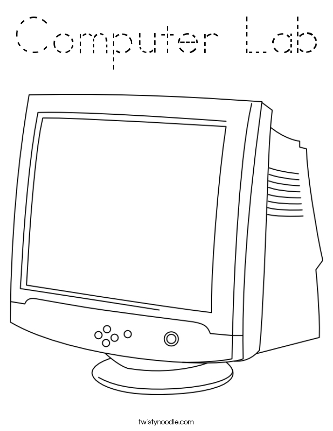 Computer Lab Coloring Page Tracing