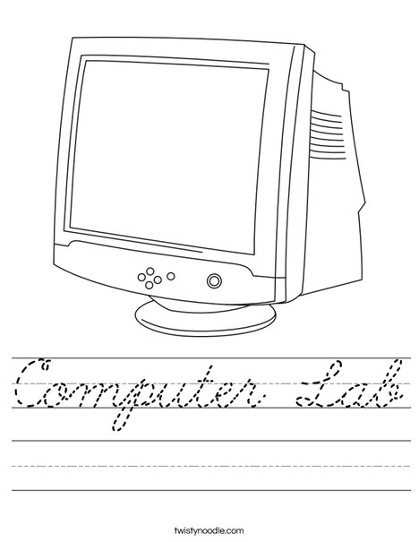 Worksheets For Computer Lab : Computer lab worksheet cursive twisty noodle