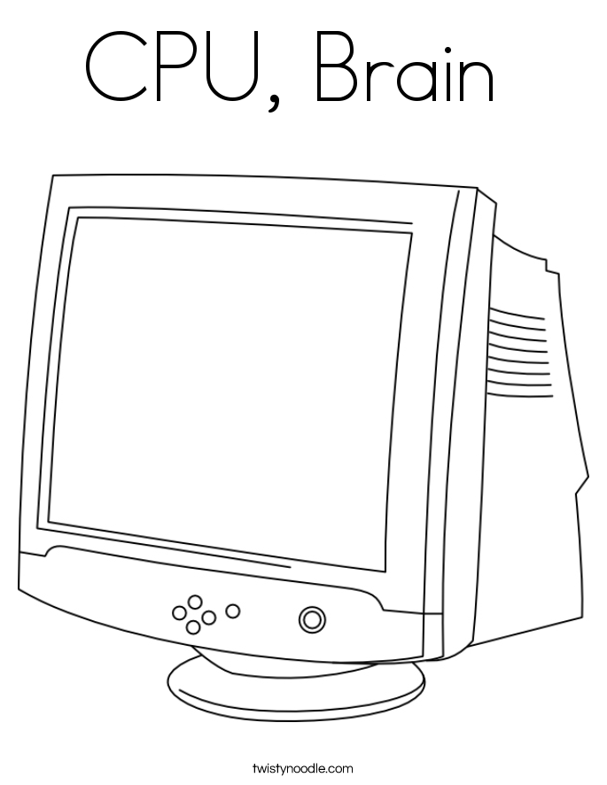 CPU, Brain  Coloring Page