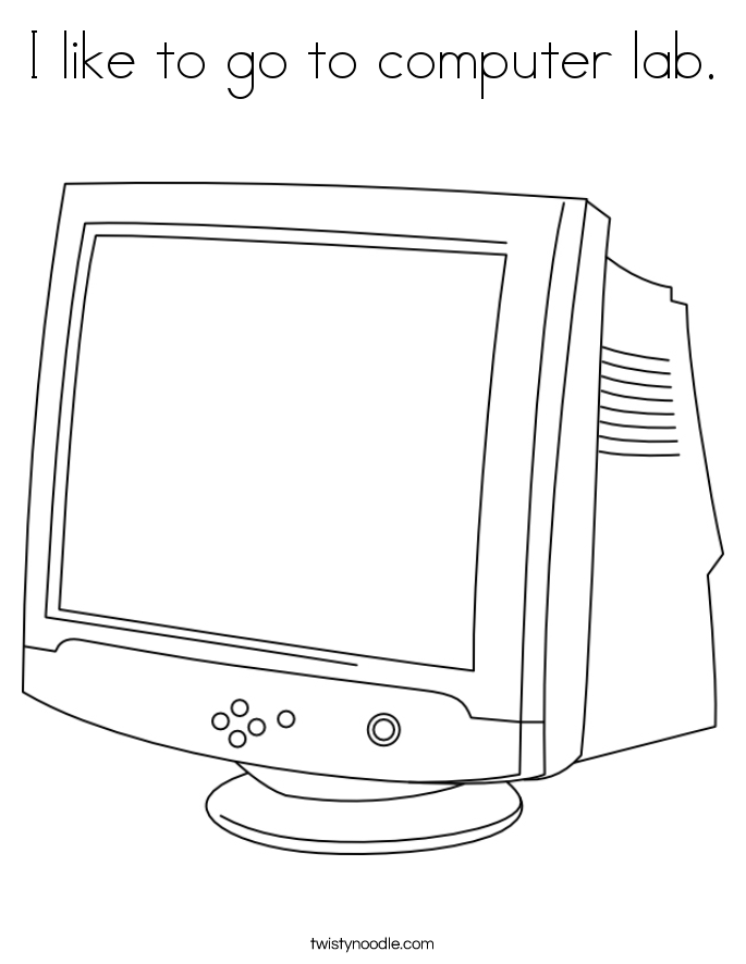 I like to go to computer lab. Coloring Page