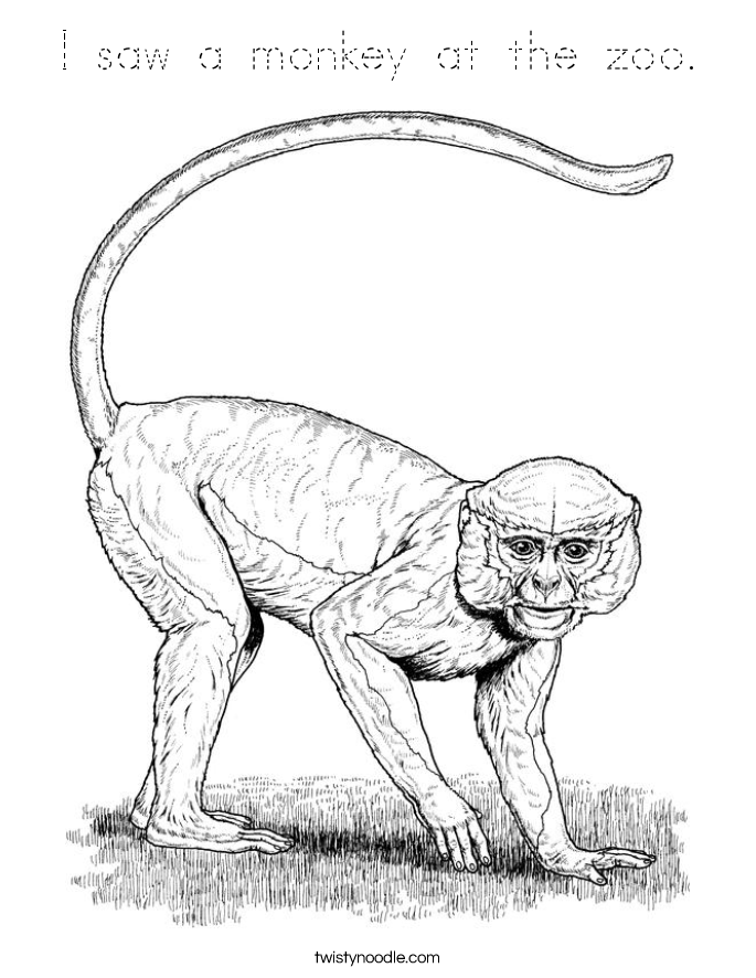 I saw a monkey at the zoo. Coloring Page
