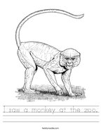 I saw a monkey at the zoo Handwriting Sheet