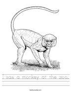 I saw a monkey at the zoo Handwriting Sheet