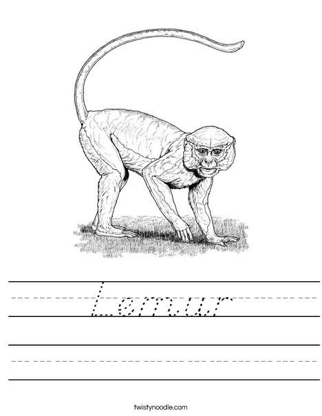 Realistic Monkey Worksheet