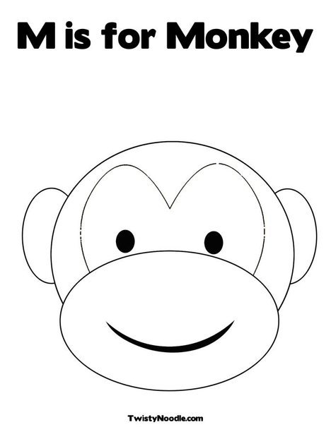 Monkey head outline the image kid has it for Monkey face template for cake