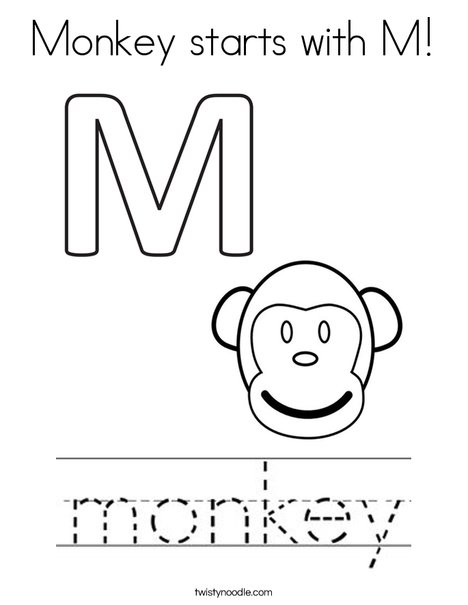 Monkey starts with M! Coloring Page