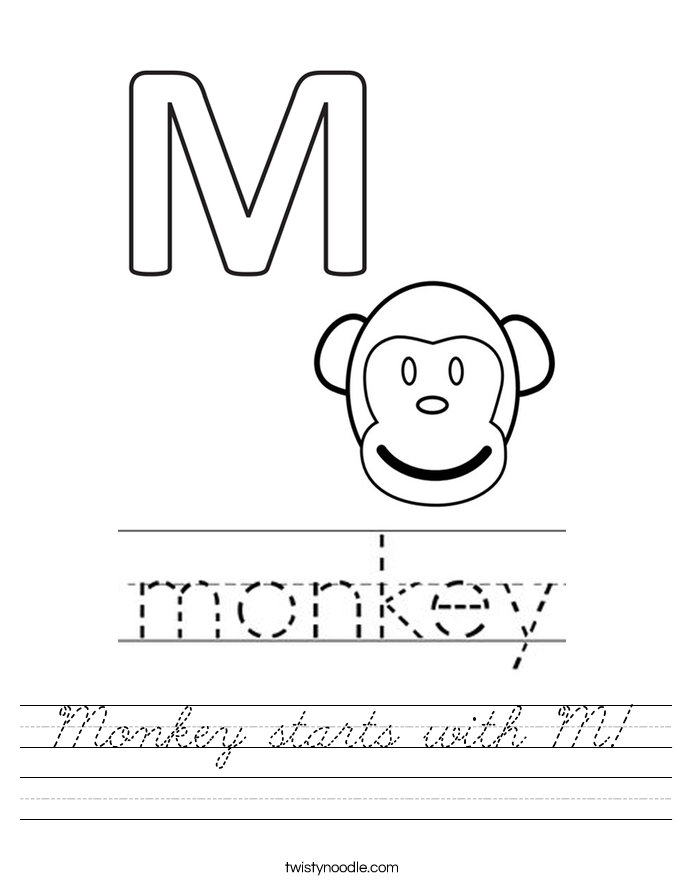 Monkey starts with M! Worksheet