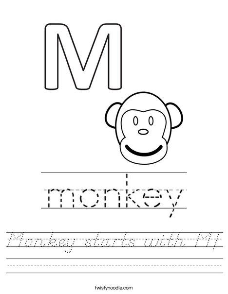 Monkey starts with M! Worksheet