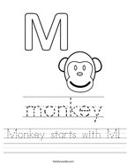 Monkey starts with M Handwriting Sheet