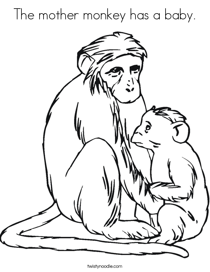 The mother monkey has a baby. Coloring Page