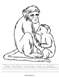 The mother monkey has a baby. Worksheet