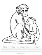 The mother monkey has a baby Handwriting Sheet
