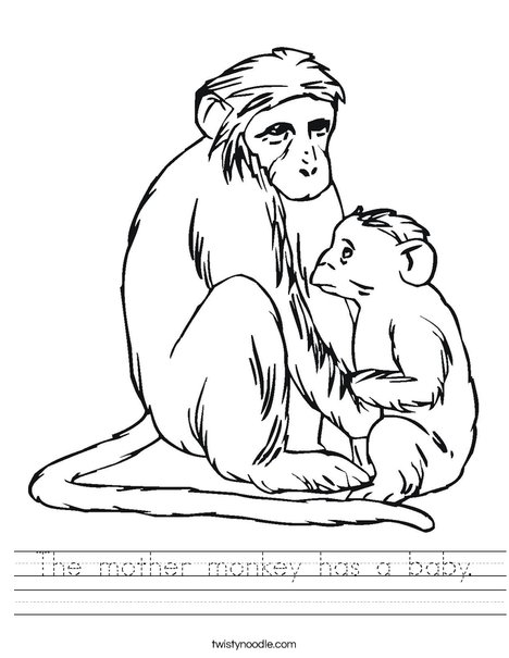 Monkey and Baby Worksheet
