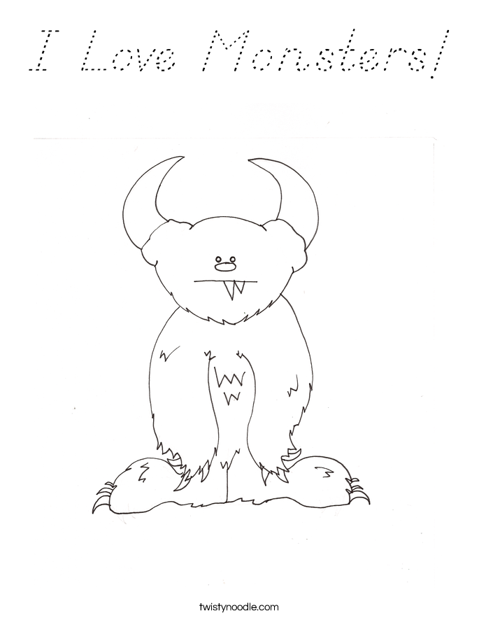 I Love Monsters! Coloring Page