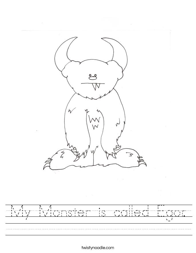 My Monster is called Egor. Worksheet