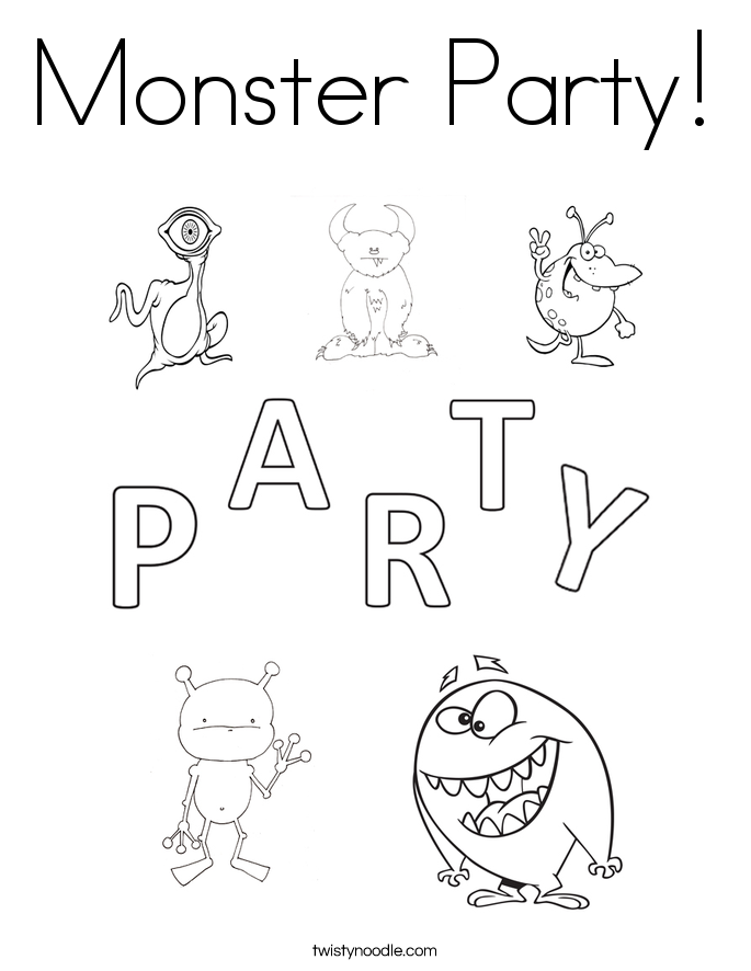 Monster Party! Coloring Page