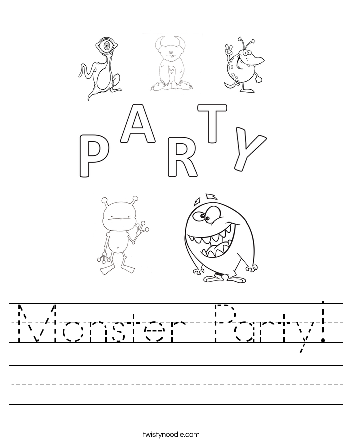 Monster Party! Worksheet