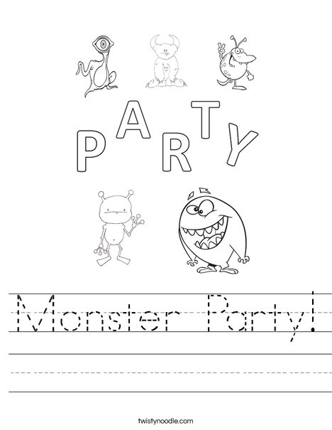 Monster Party Worksheet