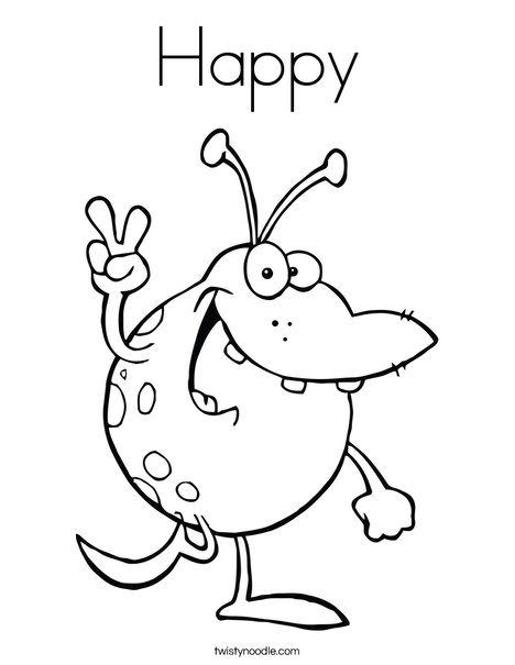 Monster with Peace Sign Coloring Page