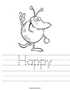 Happy Handwriting Sheet