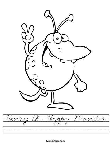 henry the happy monster worksheet cursive twisty noodle. Black Bedroom Furniture Sets. Home Design Ideas