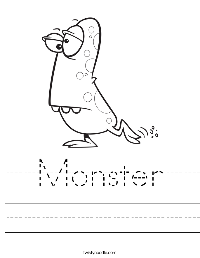 Monster Worksheet Twisty Noodle