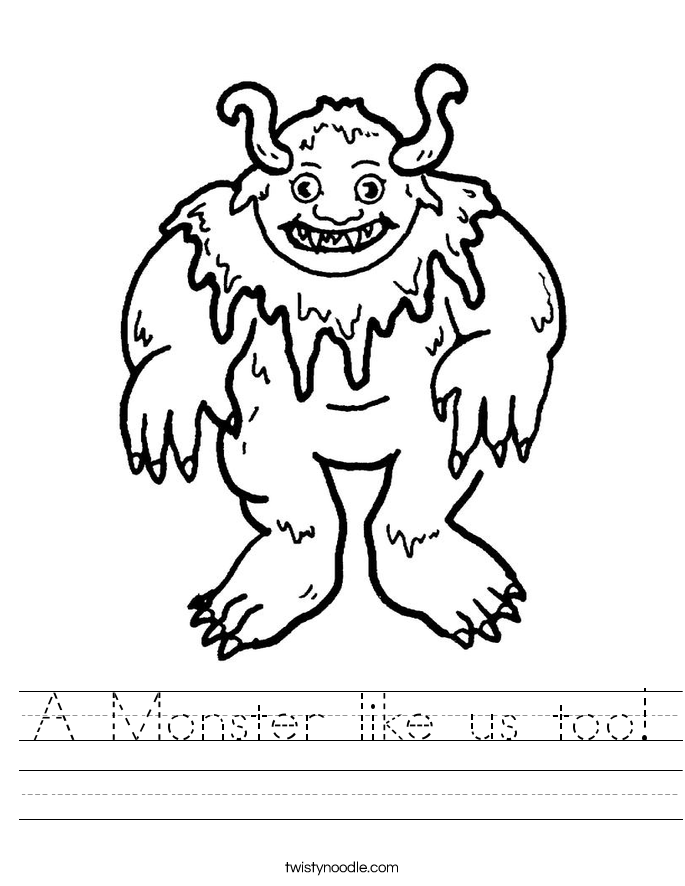 A Monster like us too! Worksheet