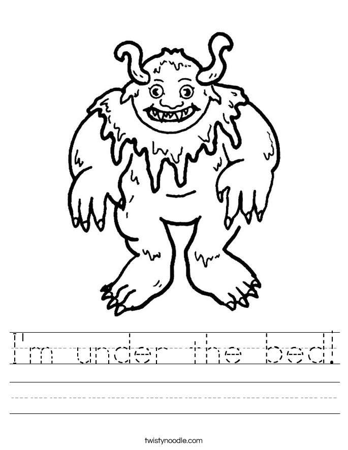 I'm under the bed! Worksheet