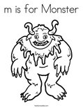 m is for Monster Coloring Page