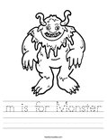 m is for Monster Worksheet
