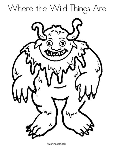 Where the wild things are coloring page twisty noodle for Where the wild things are black and white coloring pages