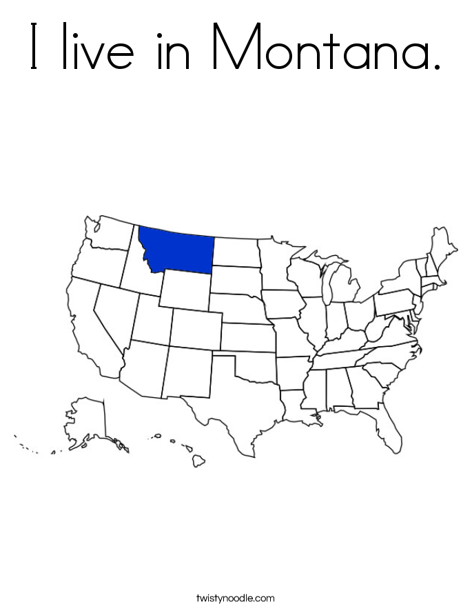 I live in Montana. Coloring Page