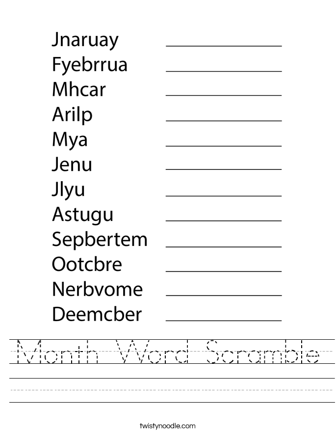 Month Word Scramble Worksheet