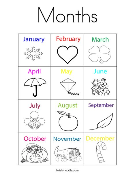 Months Coloring Page