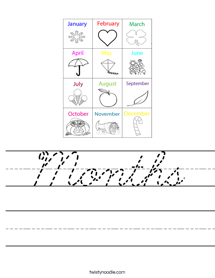 Months Worksheet Cursive Twisty