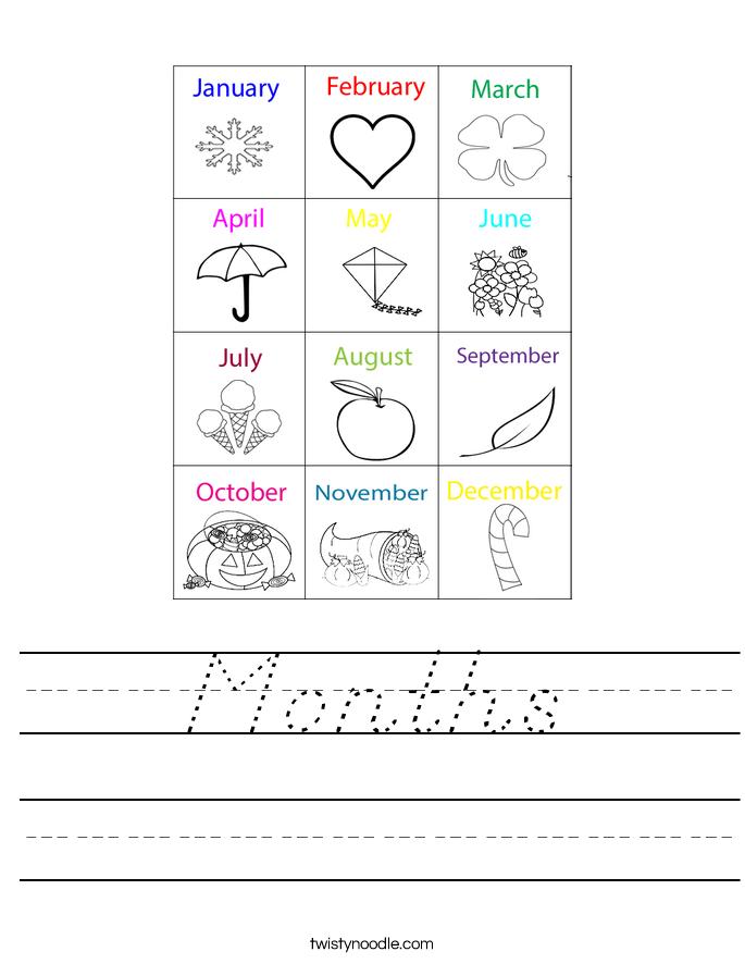 Months Worksheet
