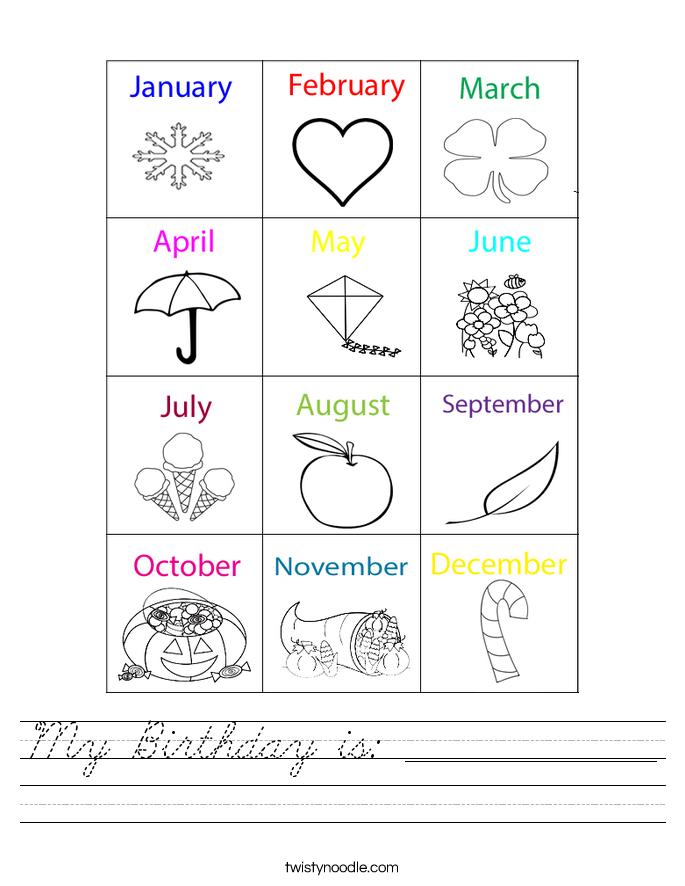 My Birthday is: ______________ Worksheet