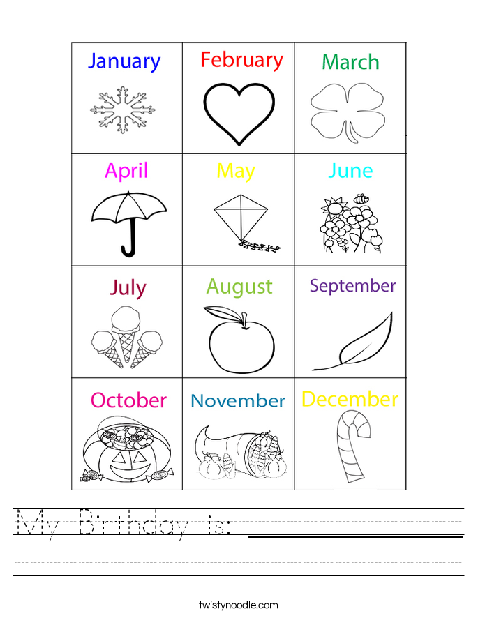 My Birthday is: ______________ Worksheet