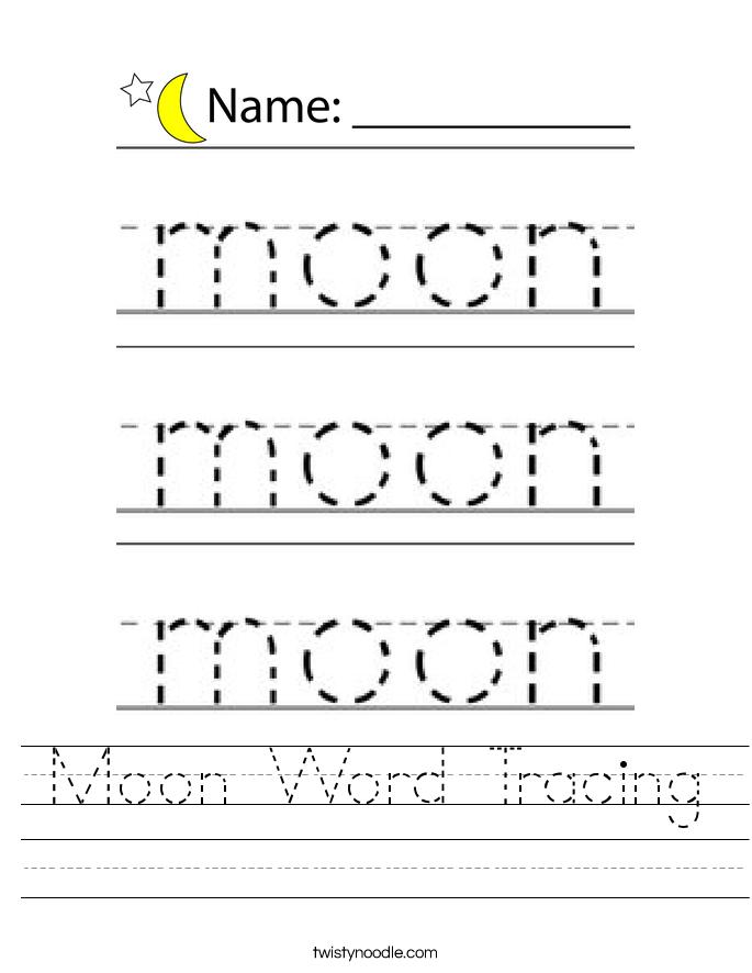 Moon Word Tracing Worksheet