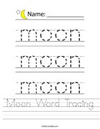 Moon Word Tracing Handwriting Sheet