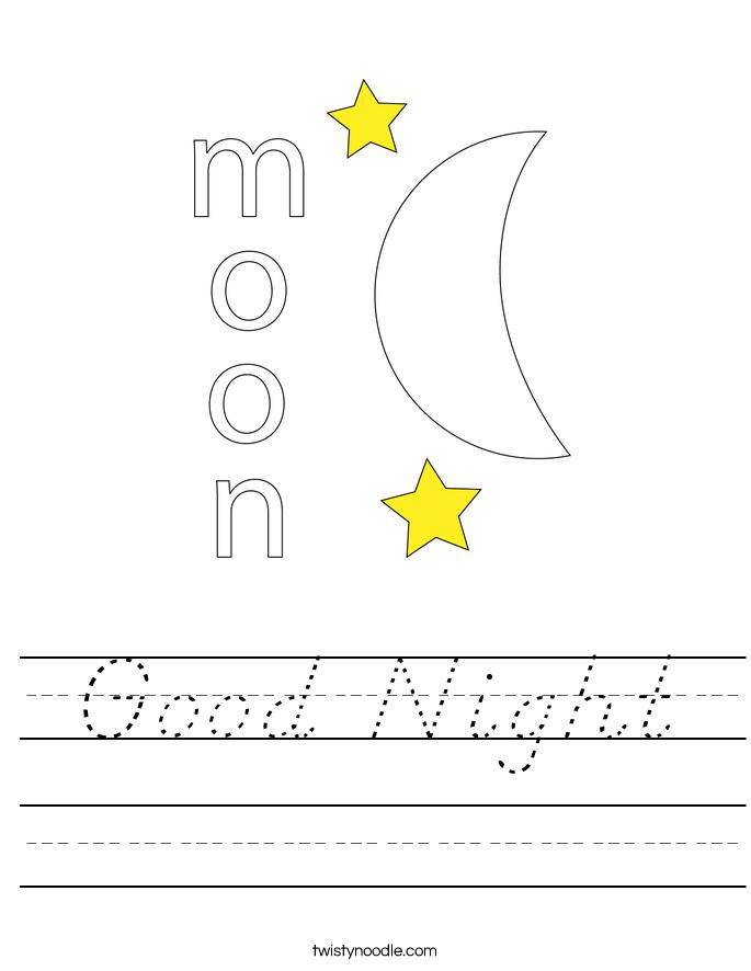 Good Night Worksheet
