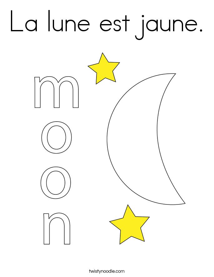 La lune est jaune. Coloring Page