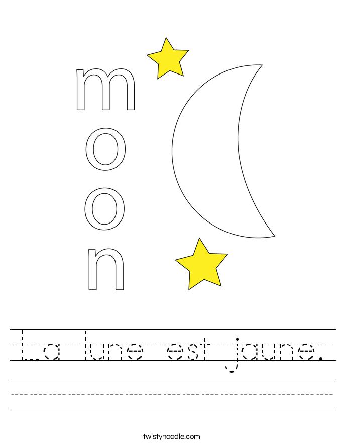 La lune est jaune. Worksheet
