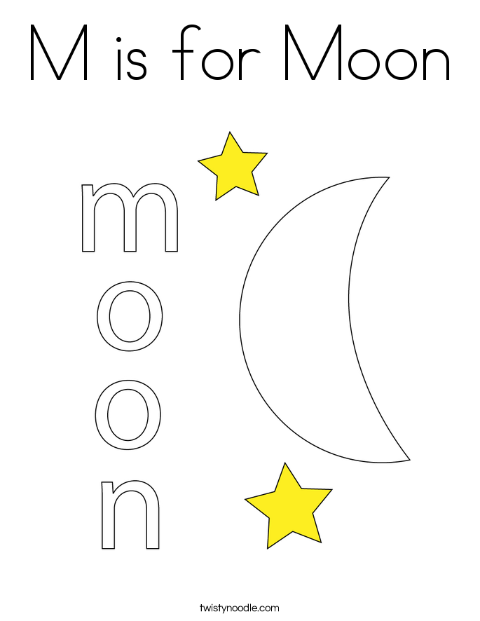 is for Moon Coloring Page - Twisty Noodle