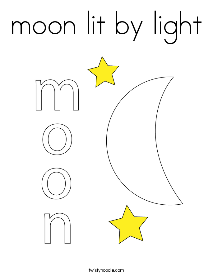 moon lit by light Coloring Page