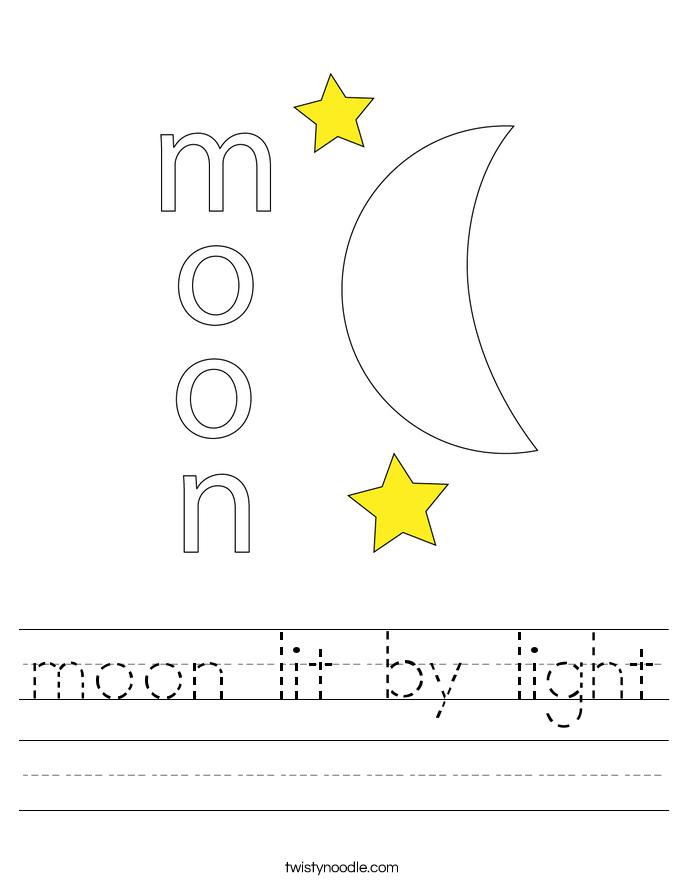 moon lit by light Worksheet